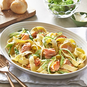 Creamy Lemon Garlic  Herb Pasta With Salmon