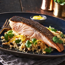 Crispy Skin Salmon With Moroccan Cous Cous