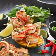 Garlic Prawns  Chargrilled Mango
