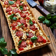 Salmon Basil Ricotta And Cherry Tomato Tart