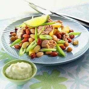 Tuna  Four Bean Salad With Dressing