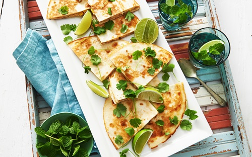 Salmon Corn And Capsicum Quesadillas